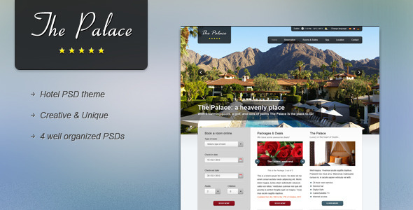 The Palace - Hotel PSD Theme Retail PSDTemplates