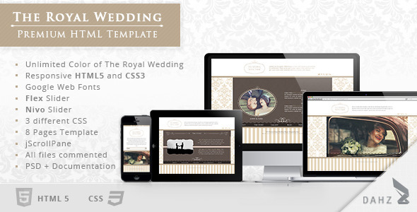 The Royal Wedding - Premium HTML Template Entertainment