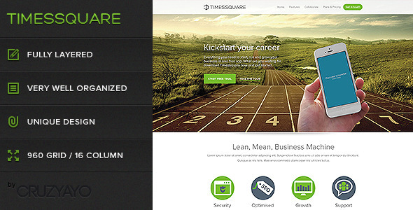 Timessquare - Premium PSD Landing Page Corporate