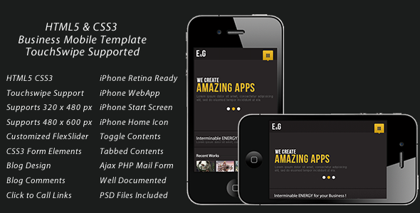 Touch Optimized Mobile Template (CSS3 & HTML5) Mobile