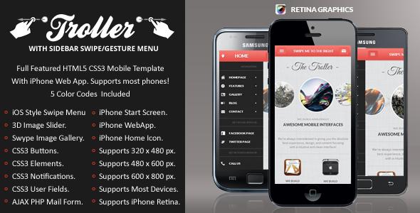 Troller Mobile Retina | HTML5 & CSS3 And iWebApp Template
