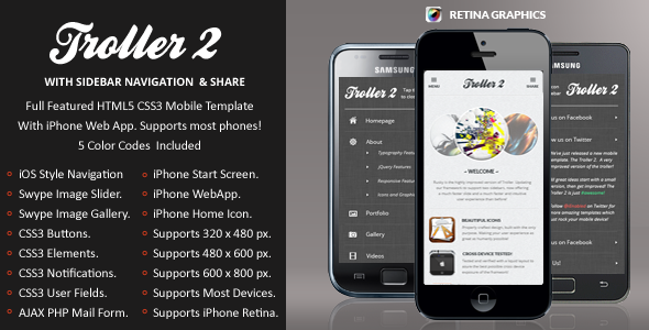TrollerV2 Mobile Retina | HTML5 & CSS3 And iWebApp Template