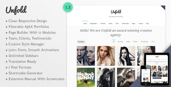 Unfold - Responsive WordPress Portfolio Theme Creative