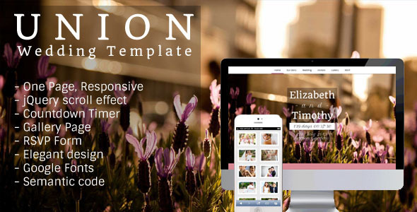 Union - One Page, Responsive Wedding Template Entertainment