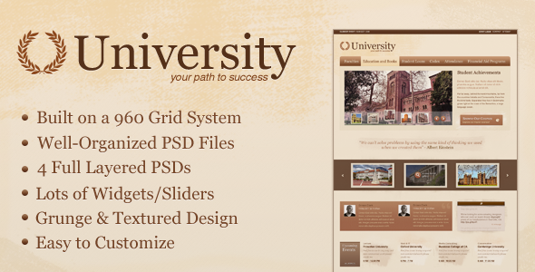 University - Education/Media Centric Template PSD Nonprofit