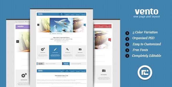 Vento - Single Page Portfolio PSD Layout Creative