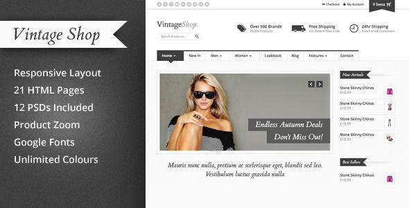 Vintage Shop - Responsive eCommerce HTML Template Retail