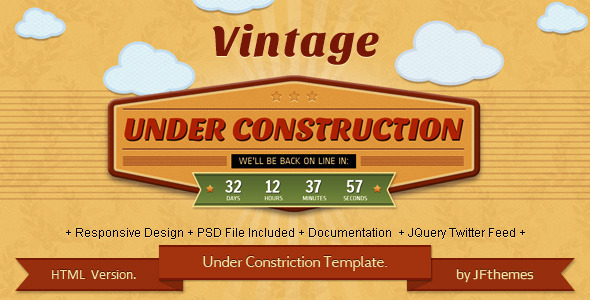 Vintage - Responsive Under Construction Template. Specialty Page