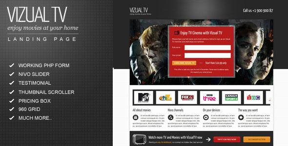 Vizual-tv TV Film movies landing page LandingPages Landing Page