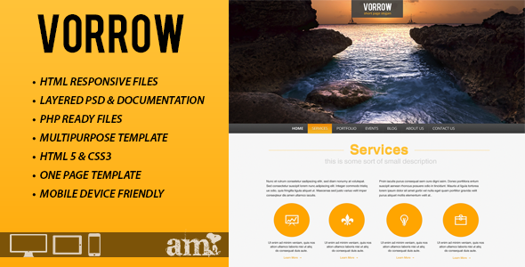 Vorrow One Page Responsive HTML Template Creative