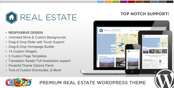 WP Pro Real Estate 3 Responsive WordPress Theme Corporate