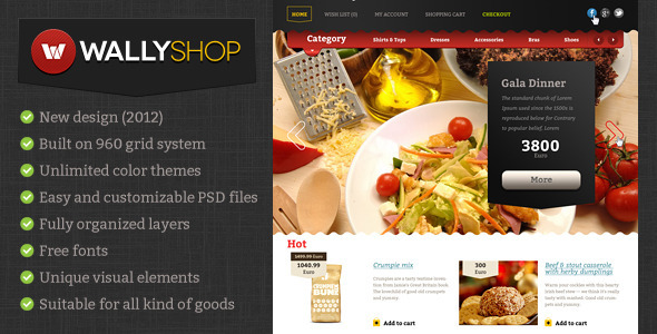 WallyShop for OpenCart PSD Template Retail