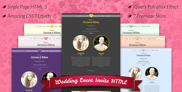 Wedding Event Invite HTML5 Template Entertainment