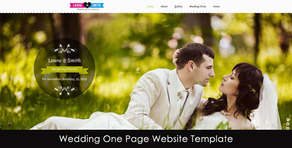 Wedding Single Page Website Template Entertainment