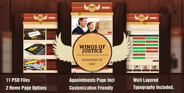 Wings of Justice - A Law / Attorney Theme PSD Creative