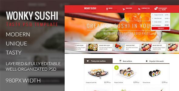 Wonky Sushi - Tasty PSD Template Retail