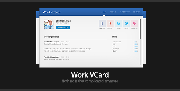 Work - Virtual Business Card Template Personal