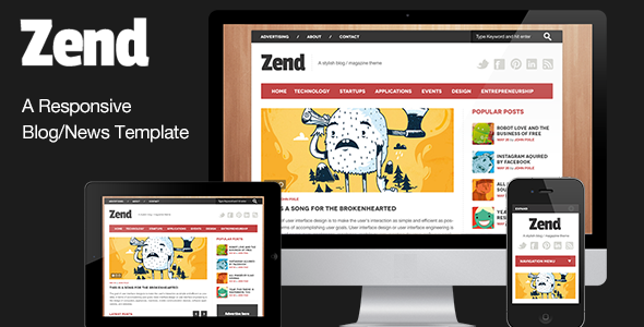 Zend - Responsive Blog/Magazine HTML template Entertainment