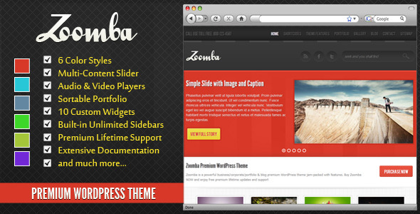 Zoomba - Business/Portfolio WordPress Theme Corporate