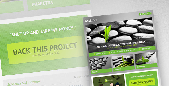 backthis - Crowdfunding Landing Page (HTML5 & PSD) LandingPages