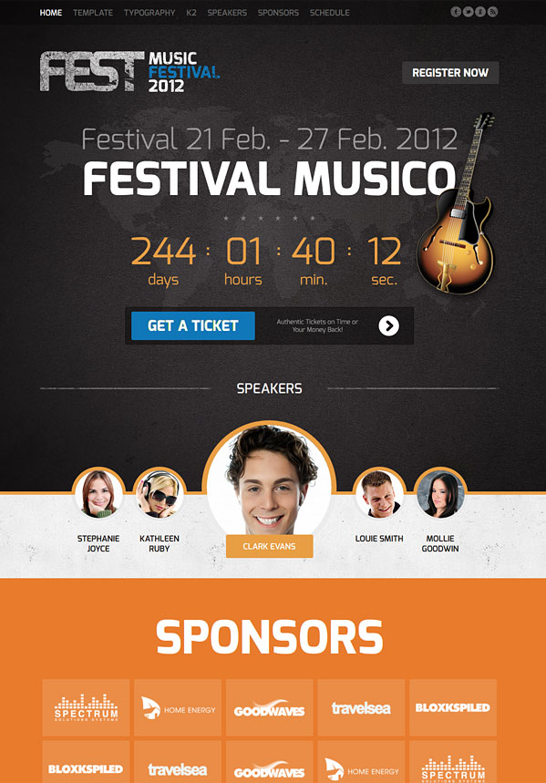 Fest Outstanding template for Joomla Events