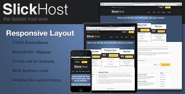 mfx - Responsive SlickHost Landing Page LandingPages Landing Page