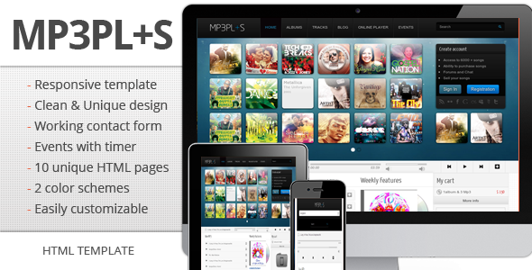 mp3Plus - Responsive Music HTML template Entertainment