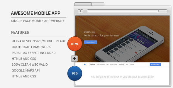 Awesome App Responsive Parallax HTML5 Showcase