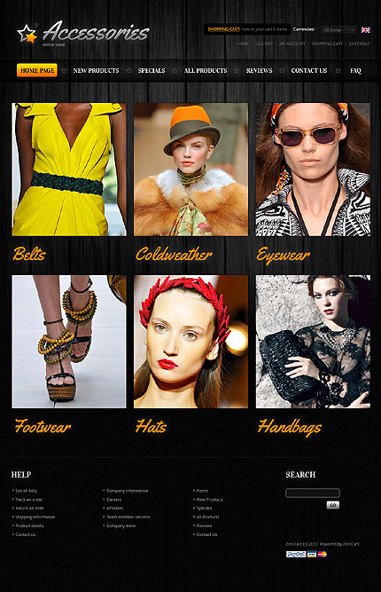 Black Fashion Store Zen Cart Template by Di Zen Cart  TMT