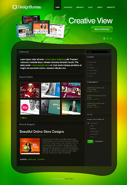 Black & Green Design Studio Drupal Theme by Hugo TMT