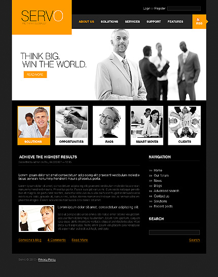 Black & White Business Drupal Template by Cowboy TMT