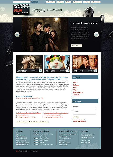 Black & White Movie Drupal Theme by Modlin TMT