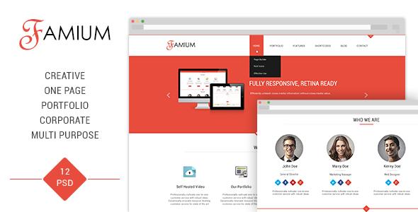 Famium • Corporate, Multipurpose, One Page PSD