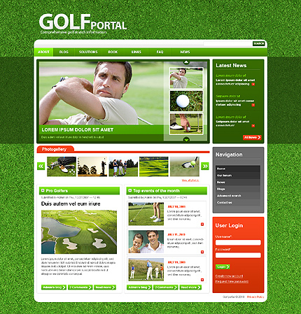 Green & White Golf Drupal Theme by Mercury TMT