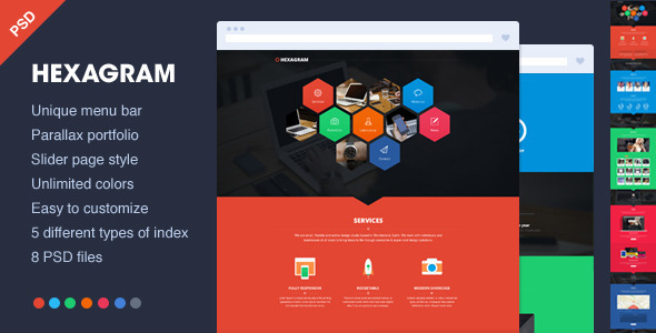 Hexagram - Unique onepage PSD portfolio