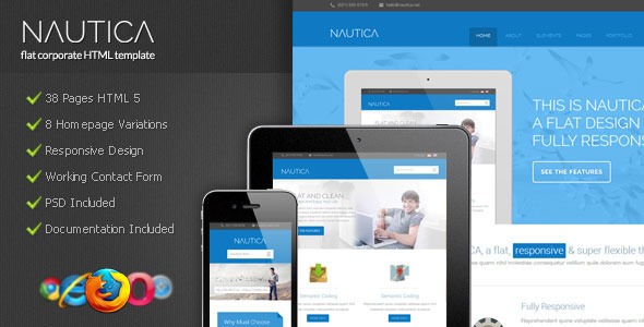 Nautica - Flat Corporate HTML Template