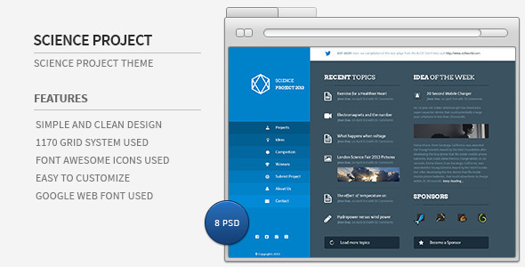 Science Project PSD Template PSDTemplates