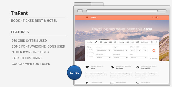 TraRent- Travelling,Renting,Hotel Booking Theme