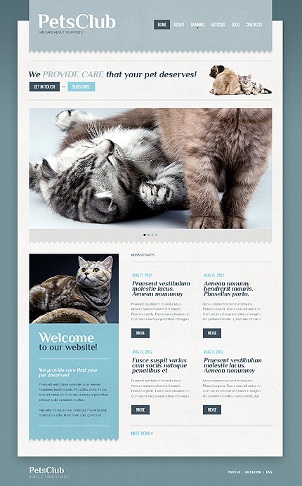 White Animals & Pets WordPress Template by Elza TMT