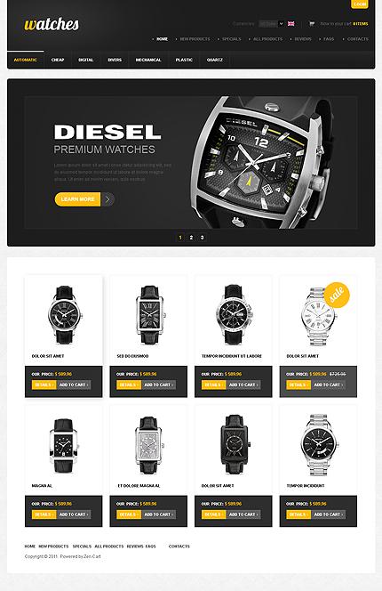 White & Black Watches Zen Cart Template by Hermes Zen Cart  TMT