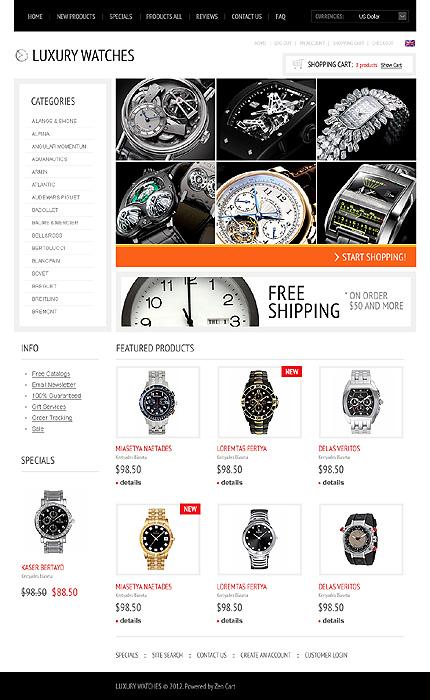 White & Black Watches Zen Cart Template by Delta Zen Cart  TMT