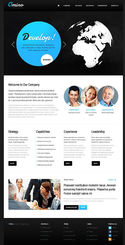 White & Black Business WordPress Template by Elza TMT
