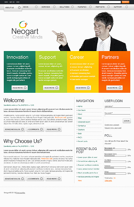 White Business Drupal Template by Hugo TMT