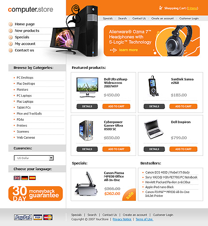 White Computer Store osCommerce Template by Matrix osCommerce  TMT