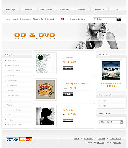 White DVD Store Zen Cart Template by Cowboy Zen Cart  TMT