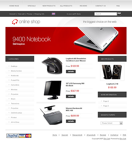 White Electronics Store Zen Cart Template by Cowboy Zen Cart  TMT