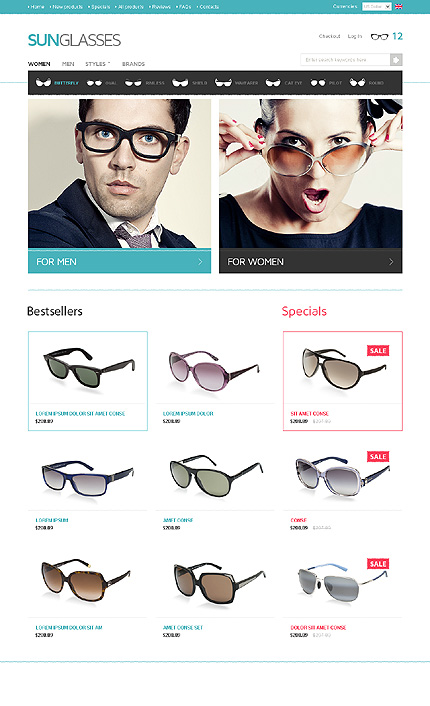 White Eye Glasses Zen Cart Template by Hermes Zen Cart  TMT