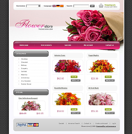 Creative Theme: Preview White Flower Shop osCommerce Template by ... | title | flowers web