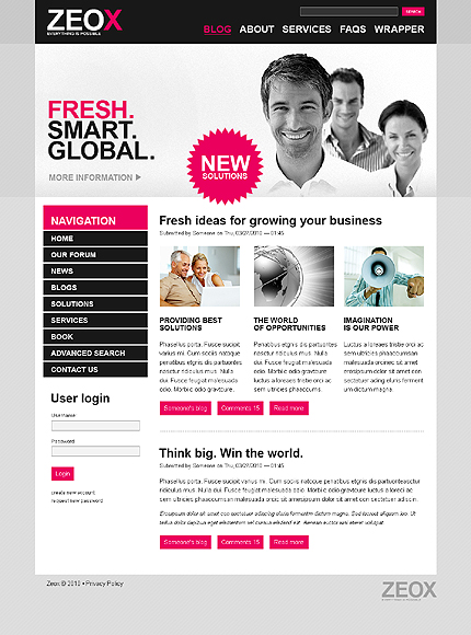 White & Grey Business Drupal Template by Cowboy TMT