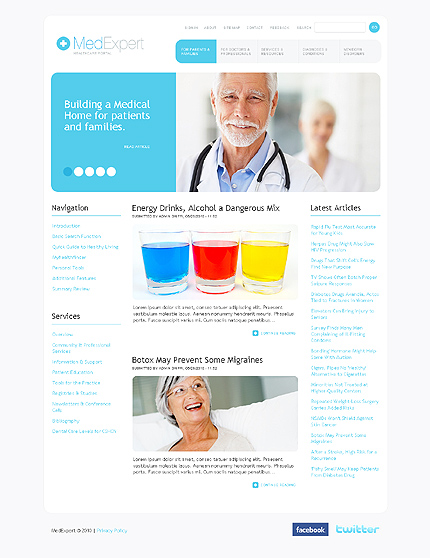 White Medical Drupal Template by Hugo TMT